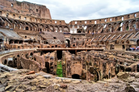 Ruined interior of the famous Roman landmark, the Colosseum photo