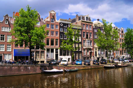 Famous canal houses of Amsterdam, The Netherlands