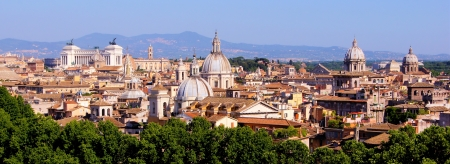 Panoramic view over the historic center of Rome, Italy from Castel Sant Angelo