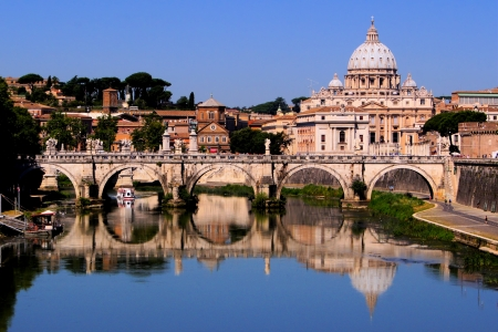 View of toward Vatican City from Ponte Umberto I, Rome, Italy  photo