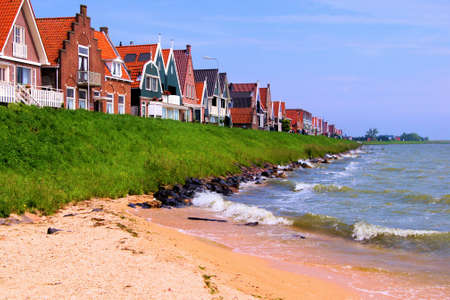 Shoreline along the traditional Dutch town of Volendam, The Netherlands Stock Photo - 14362827