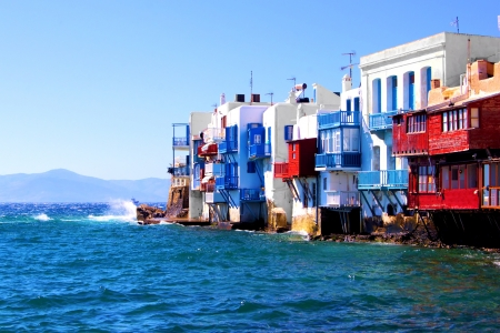 Colorful Little Venice neighborhood of Mykonos island, Greece photo