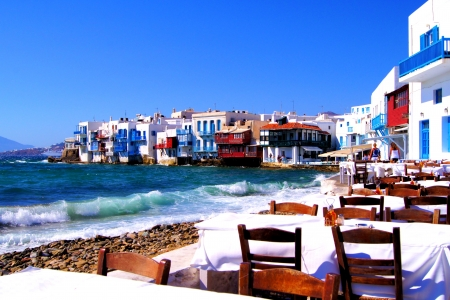 Colorful Little Venice neighborhood of Mykonos island, Greece