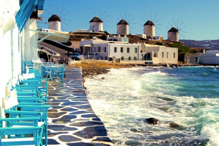 traditional windmill: View of the famous windmills of Mykonos, Greece Stock Photo