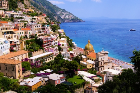 coasts: View of the town of Positano on the Amalfi Coast of Italy Stock Photo