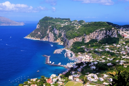 Aerial view over the famous island of Capri, Italy  Stock Photo