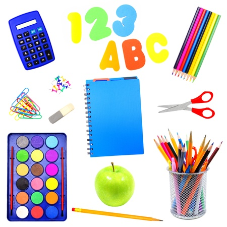 notebook: Assortment of school supplies individually isolated over white