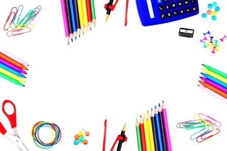 teaching crayons: Cornice colorata di scuola fornisce su uno sfondo bianco Archivio Fotografico