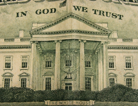 Close of the White House on the back of the American twenty dollar bill photo