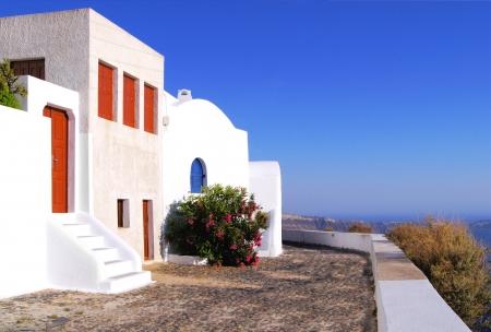 whitewashed: Typical whitewashed houses of Firostefani, Santorini Island, Greece Stock Photo