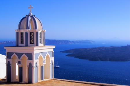 spire: Santorini caldera view with traditional church spire, Greece