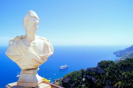 Statue above the Amalfi Coast, Villa Cimbrone, Ravello, Italy photo