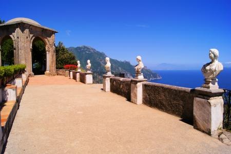 Statues of The Terrace of Infinity above the Amalfi Coast, Ravello, Italy photo