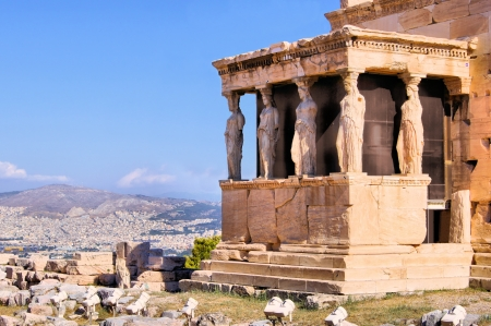 caryatids: Famous ancient Porch of the Caryatids overlooking Athens, Greece Stock Photo