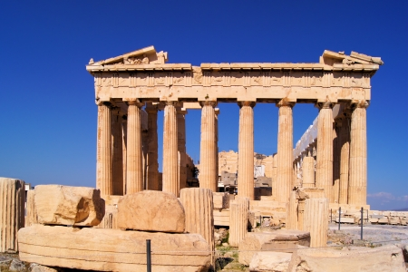 View of the ancient Parthenon at the acropolis, Athens, Greece