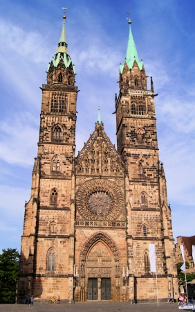 Gothic facade of St Lawrence Church, Nuremberg, Germany photo