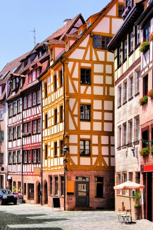 nuremberg: Half-timbered houses of the Old Town, Nuremberg, Germany  Stock Photo