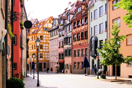 timbering: Half-timbered houses of the Old Town, Nuremberg, Germany  Stock Photo