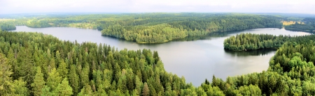 finnish: Panoramic aerial view of a lake among the forests of Finland