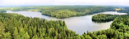 finland�s: Vista panor�mica a�rea de un lago entre los bosques de Finlandia