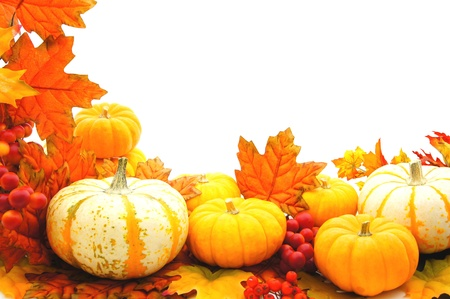 pumpkin border: Border or frame of pumpkins and vibrant autumn leaves over white Stock Photo