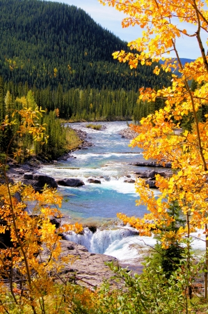 america countryside: Mountain river view framed by yellow autumn leaves Stock Photo