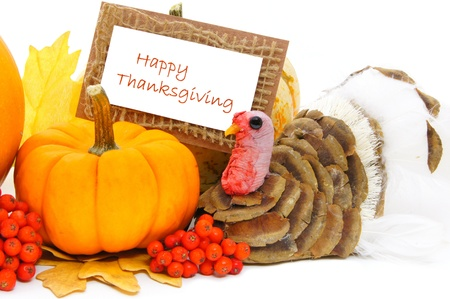 happy thanksgiving: Happy Thanksgiving card with pumpkin and turkey decor over white Stock Photo
