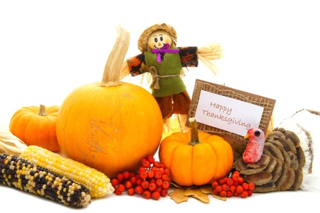 decor: Happy Thanksgiving card with autumn themed decor over white