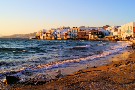 historic site: Sunset view of the Little Venice neighborhood of Mykonos, Greece