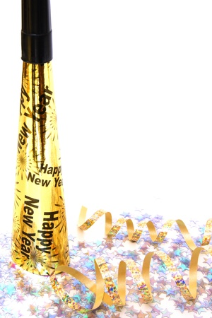 New Years Eve noisemaker and confetti  - vertical corner border on white