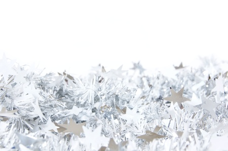 Silver star Christmas garland border or background photo