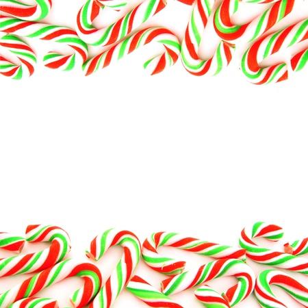 comida de navidad: Doble borde rojo y verde frontera del bast�n de caramelo Foto de archivo