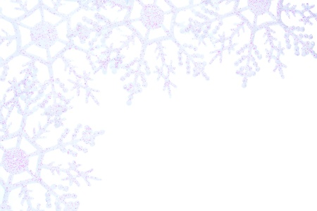 Winter or Christmas border of snowflake decorations Stock Photo