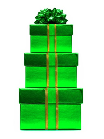 Stack of green Christmas gift boxes with bow and ribbon over white photo