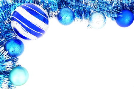 Blue Christmas border of baubles and shiny garland photo