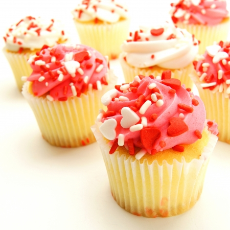 Group of pink and white Valentines Day cupcakes Stock Photo - 17125939