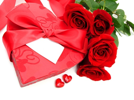 Valentines Day heart shaped gift box with blank card and red roses photo