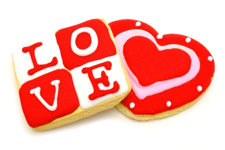 Valentine s Day cookies - heart shaped and love photo