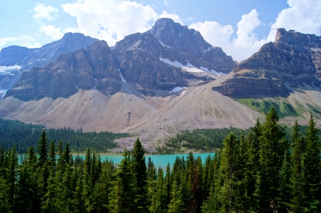 Mountain view near Crowfoot Glacier, Banff National Park, Canada Stock Photo