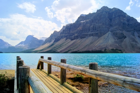 banff national park: View over a wooden bridge at Bow Lake, Banff National Park, Canada