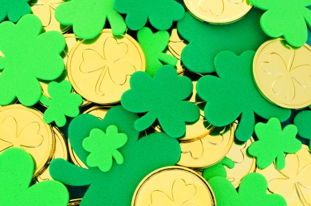 St Patricks Day background of shamrocks and gold coins Stock Photo - 17681070
