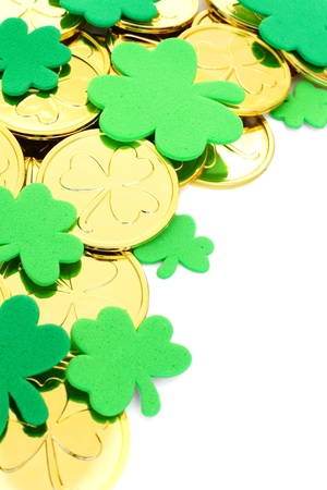 st: St Patricks Day border of clover shapes and gold coins