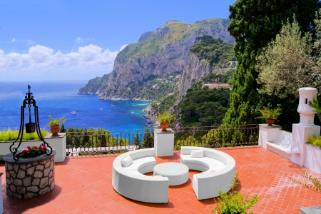 View from a luxurious terrace on the island of Capri, Italy photo