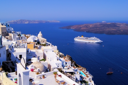 Panoramic view of the town of Fira, Santorini, Greece photo