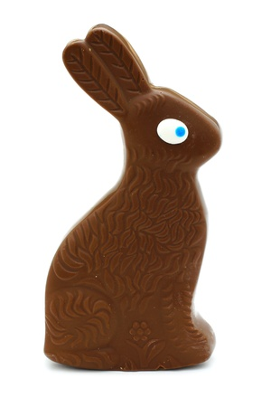 Single generic chocolate Easter bunny over white