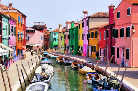 burano: Colorful canal views in Burano village, Venice, Italy