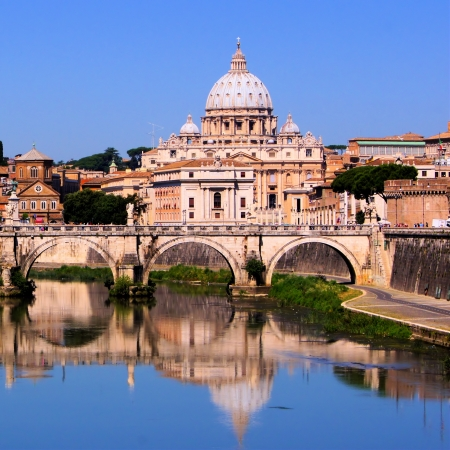 View of the Vatican across the Tiber River of Rome, Italy photo