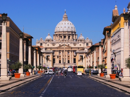 View down street to St Peters Bascilica, Vatican City Editorial