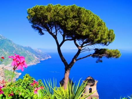 positano: Famous view from a villa in Ravello, Amalfi Coast, Italy
