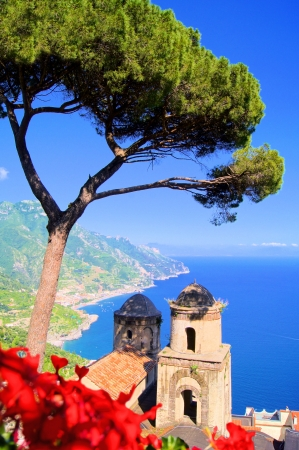 Famous view from a villa with flowers in Ravello, Amalfi Coast, Italy